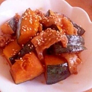 かぼちゃと豚肉の甘辛炒め
