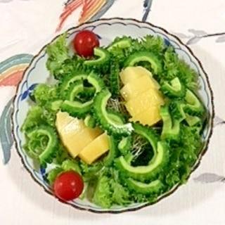 ゴーヤ、キウイ、わさび菜のサラダ
