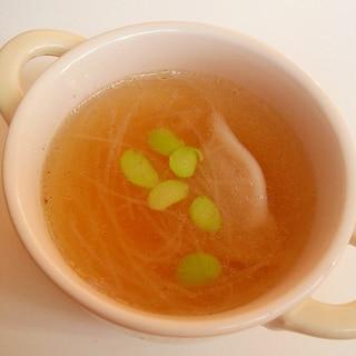 レンジで簡単♪水餃子と春雨の中華スープ