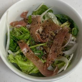生ハムアーリーレッドレタスベビーリーフのサラダ