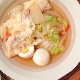 市販のワンタンアレンジ☆野菜たっぷりのスープ