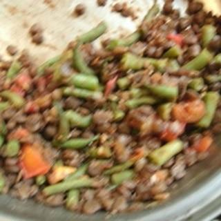 レンズ豆といんげんのトマト味噌煮