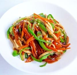 高野豆腐でチンジャオロース風 青椒豆腐干絲