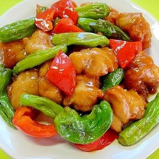 冷凍唐揚げで☆鶏とししとうパプリカの甘酢炒め