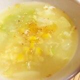 キャベツとコーンの卵スープ