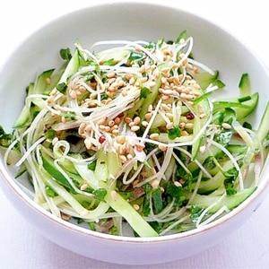 茗荷ときゅうりとブロッコリースプラウトの胡麻サラダ
