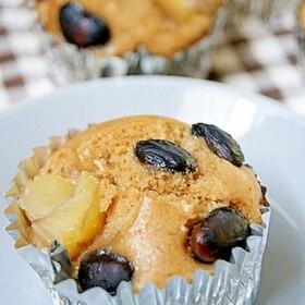 フライパンでできる!栗と黒豆の黒糖蒸しケーキ