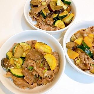 茄子とズッキーニと牛肉の味噌炒め♪旬の素材で