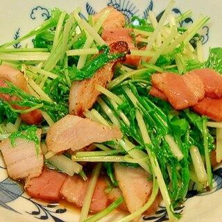 ベーコンと水菜の炒め物