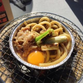 【キャンプ飯】七輪で❃* すき焼き風うどん