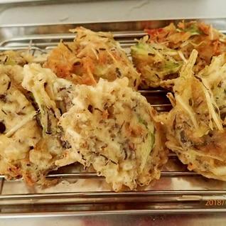 水菜のサラダをリメイク。かき揚げ
