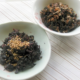 節約アレンジ★紫蘇ジュースの煮出した葉で佃煮2品