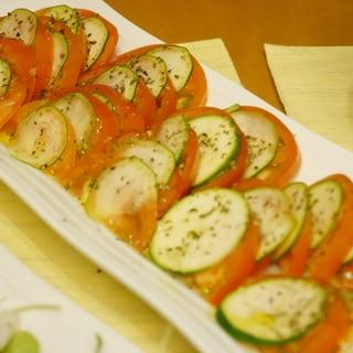 トマトとズッキーニのカルパッチョ風サラダ