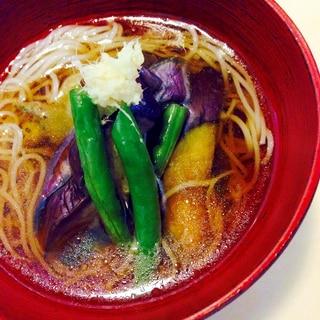 ★麺つゆで簡単手間なし!焼きなす温っかそうめん♪