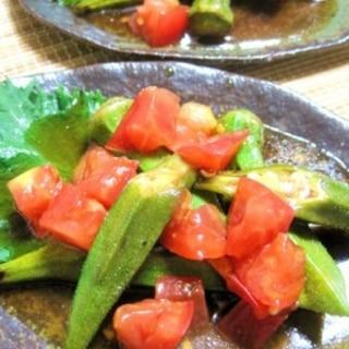 焼きオクラとトマトの和風マリネ