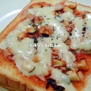 ナスピーハムのピザトースト
