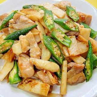 長いもとオクラ鶏肉の甘辛醤油炒め
