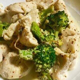 低糖質♡鶏肉とブロッコリーのマスタードクリーム煮