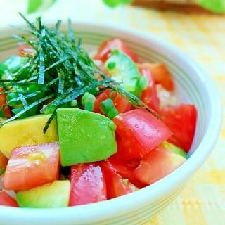 野菜だけが嬉しい♪トマトとアボカドの漬け丼♪