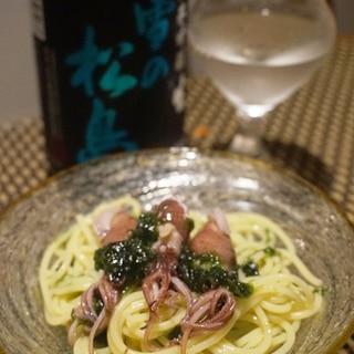 旬パスタ、ホタルイカと生海苔のスパゲッティーニ