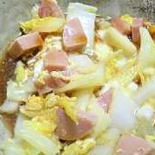 白菜とハムの卵とじ