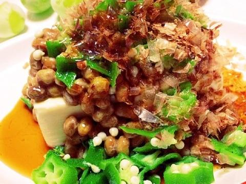 豆腐半丁!オクラ&納豆のネバネバ豆腐
