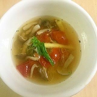 ヤングコーンとひげのスープ