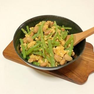 ミズと大豆とたまご炒め♪