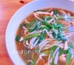 ニラともやしの酸辣湯風スープ