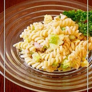 ツナとキャベツのマカロニサラダ◇ごまマヨ醤油