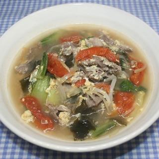 簡単☆トマト出汁☆ドライトマトで牛肉スープ