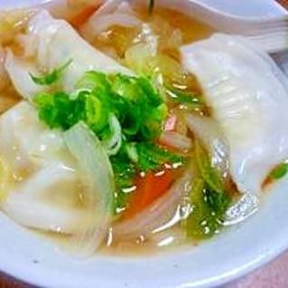 水餃子で♪野菜たっぷりスープ餃子