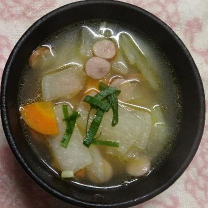 大根のコンソメスープは初めてでしたが、美味しかったです(*^^*)レシピありがとうございます。