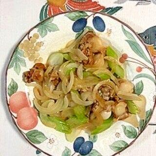 セロリ、玉葱、ベビー帆立の炒め物