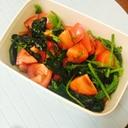 栄養満点なトマトとほうれん草のサラダ