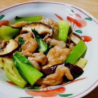 豚肉とチンゲン菜と椎茸のオイスターソース炒め