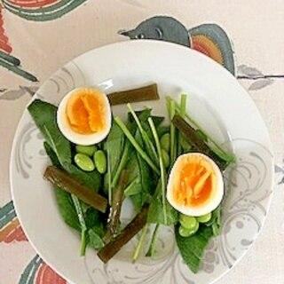 サラダほうれん草、枝豆、ゆで卵、茎わかめのサラダ