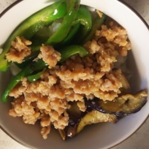 甘辛の肉味噌で夏野菜どんぶり。