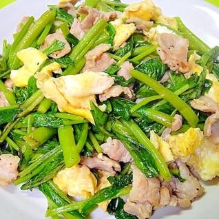 空芯菜と豚バラ肉、卵のオイスター炒め