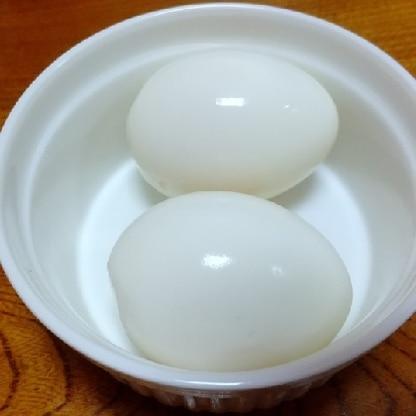省エネゆで卵、できました。ありがたきレシピm(_ _)m感謝ですm(_ _)m