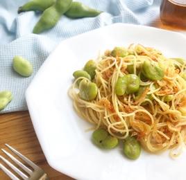 空豆と桜海老のペペロンチーノ