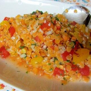 レンズ豆と焼きパプリカのサラダ