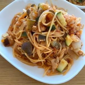 フライパン一つで!夏野菜のスパゲティー