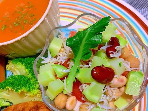 お豆とトマトとコロコロ野菜のじゃこマリネ