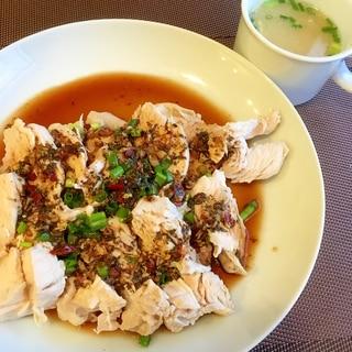 よだれ鶏と鶏スープ