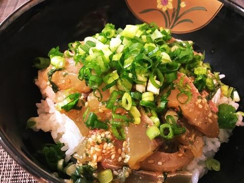 鯵の刺身漬け丼(りゅうきゅう丼)