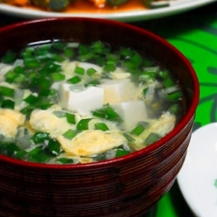 【簡単】ふんわりニラかき玉の中華スープ