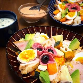 温野菜とスパイシー蒸し鶏のパワーサラダ
