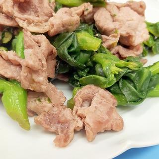 簡単ヘルシー!(^^)豚肉と菜の花の柚子胡椒炒め♪