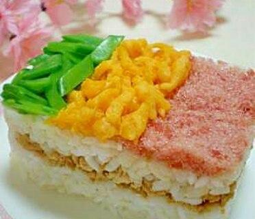 ひな祭りやお花見に♪ミニサイズの3色寿司ケーキ☆